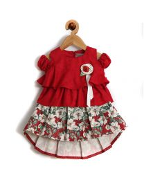 Rose Couture Layered And Pleated Skirt Top Set -babycouture.in