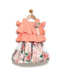Rose Couture Layered Style Top With Printed Skirt Set With Headband-babycouture.in