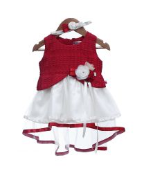 Rose Couture Maroon Net Flare Kids Party Dress With Headband-babycouture.in