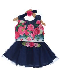 Rose Couture Navy Blue Top Skirt Set With Headband-babycouture.in