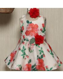 Rose Couture Red Flower Love Kids Dress With Headband-babycouture.in