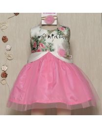 Rose Couture Rose Princess Bright Kids Party Dress-babycouture.in