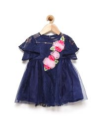 Rose Couture Royal Blue Classy Frilled Kids Party Dress With Headband-babycouture.in