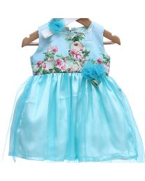 Rose Couture Shimmery Printed Party Dress With Headband-babycouture.in