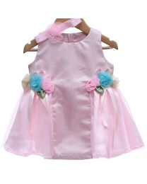 Rose Couture Shimmery Style Party Dress With Headband-babycouture.in