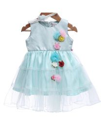Rose Couture Shiny Flower Kids Party Dress With Headband-babycouture.in