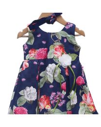 Rose Couture Stylish Floral Kids Party Dress With Headband-babycouture.in