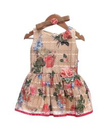 Rose Couture Subtle Printed Kids Party Dress-babycouture.in