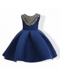 Royal Blue Gold Lace Neck Kids Dress-babycouture.in