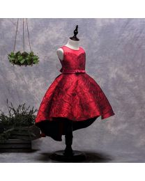 Ruby Red Blooming Stylish Kids Party Dress-babycouture.in