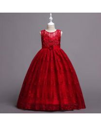 Ruby Red Lovely Lace Kids Gown-babycouture.in