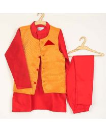 Saka Brocade Designer Boys 3 Piece Ethnic Set-babycouture.in