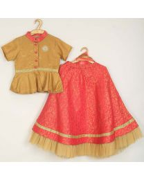 Saka Brocade Style Designer Frilly Lehnga Choli Set-babycouture.in
