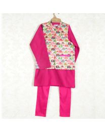 Saka Cute Cartoon Print Boys 3 Piece Ethnic Set