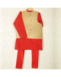 Saka Designer Stylish Boys 3 Piece Ethnic Set-babycouture.in