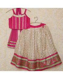 Saka Gorgeous Hot Pink and Silver Kids Party Lehnga Choli Set-babycouture.in