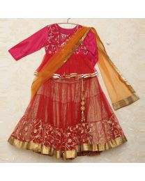 Saka Gorgeous Lacey Ethnic Lehanga Choli Set-babycouture.in