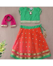 Saka Orange Green Net Traditional Kids Lehnga Choli Set 1
