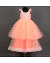 Saka Peachy Net Flare Kids Party Dress-babycouture.in