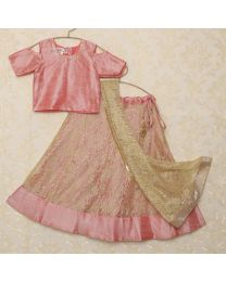 Saka Pink And Golden Cold Shoulder Lehanga Choli Set 1