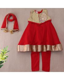 Saka Red and Golden Traditional Party Kids Kurta Jacket Set-babycouture.in
