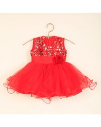 Saka Rose Red Sequin Net Kids Party Dress-babycouture.in