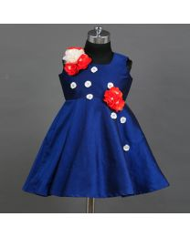 Saka Royal Blue Flower Love Kids Party Dress-babycouture.in