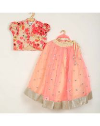 Saka Sequin Floral Style Lehnga Choli Set-babycouture.in