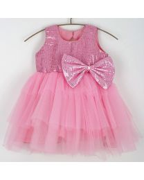 Saka Sequin Love Frill Kids Party Dress-babycouture.in