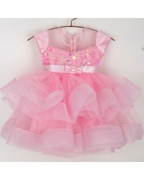 Saka Sequin Sheer Frill Kids Party Dress-babycouture.in