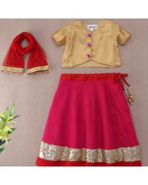 Saka Shimmery Ethnic Kids Lehnga Choli Set-babycouture.in