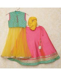 Saka Stylish Front Cut Flared Lehanga Choli Set-babycouture.in