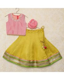 Saka Traditional Brocade Kids Lehnga Choli Set-babycouture.in