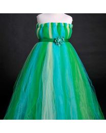 Shaded Peacock Hue Panache Kids Tutu Dress-babycouture.in