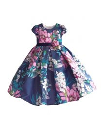 Shades of Purple Floral Kids Dress-babycouture.in