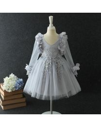Silver Grey Lovely Sleeves 3D Kids Dress-babycouture.in
