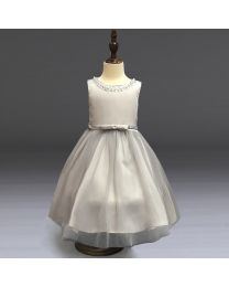 Silver & Pearls Kids Party Dress-babycouture.in