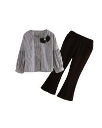Smart Striped Shirt & Stylish Pants Set-babycouture.in