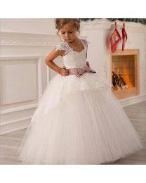 Snow-White Aisha Kids Party Gown-babycouture.in