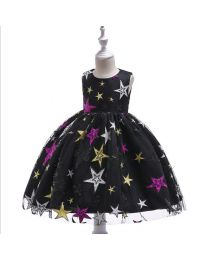 Starry Nights Lovely Black Kids Dress-babycouture.in