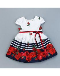 Stripes & Roses Lovely Summer Kids Dress-babycouture.in
