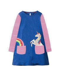 Stripes Blue Unicorn Kids Casual Dress-babycouture.in