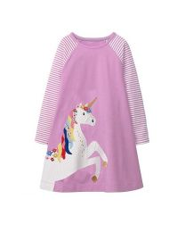 Stripes & Mauve Unicorn Kids Casual Dress-babycouture.in