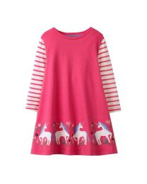 Stripes Pink Unicorn Kids Casual Dress-babycouture.in