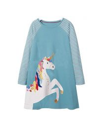 Stripes & Sky Blue Unicorn Kids Casual Dress-babycouture.in
