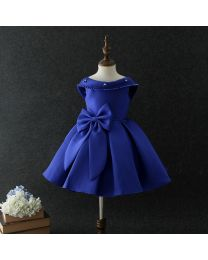 Style Diva Electric Blue Backless Kids Party Dress-babycouture.in