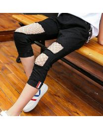 Stylish Black Mesh Kids Pants-babycouture.in