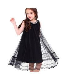 Stylish Studded Black Lace Kids Dress-babycouture.in
