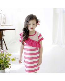 Stylish Summer Pink Striped Dress-babycouture.in
