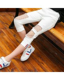 Stylish White Mesh Kids Pants-babycouture.in